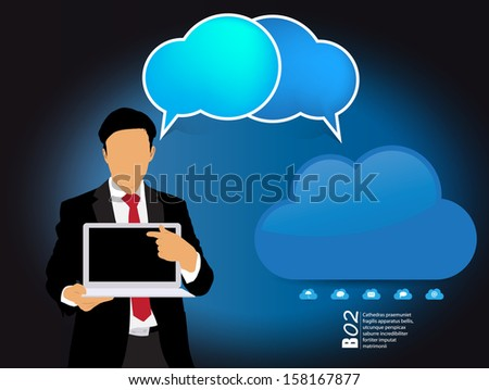 Cloud computing business concept. Vector
