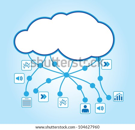 Cloud computing - communication concept with document icons - stock vector