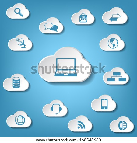 Cloud computing concept and background - stock vector