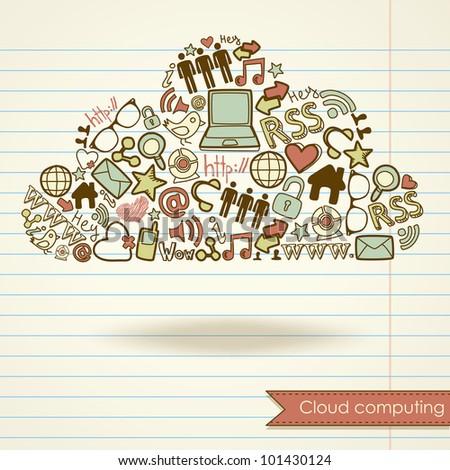 Cloud computing concept and social media - stock vector