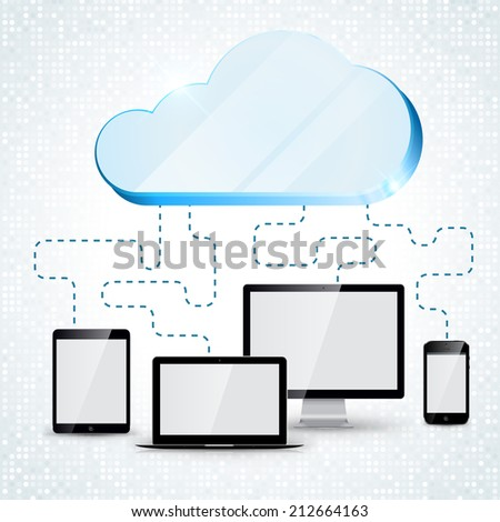 Cloud Computing concept background: tablet, smartphone, computer, laptop