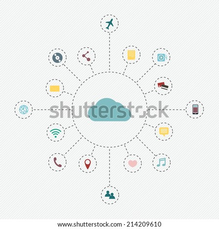 Cloud Computing concept background with a lot of icons: tablet, smartphone, computer, desktop, monitor, music - stock vector