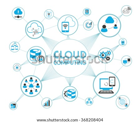 cloud computing concept, cloud computing network background, cloud icons - stock vector