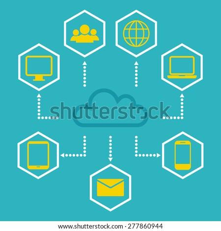 Cloud computing concept. Cloud computing scheme. Flat style design. Vector illustration - stock vector