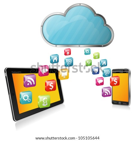 Cloud Computing Concept - Cloud with Tablet PC, Smartphone and application icons, vector illustration