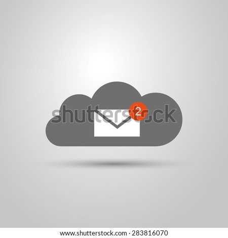Cloud Computing Concept Design - Share Your Mails, Messages Between Devices - stock vector