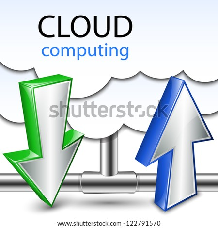 Cloud computing concept download and upload. Vector illustration - stock vector