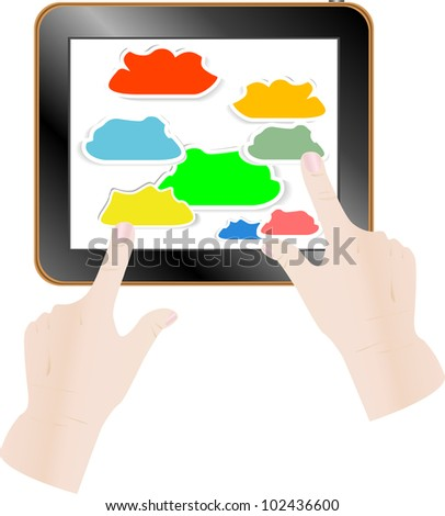 Cloud computing concept. Finger touching cloud on a touch screen. Vector illustration - stock vector