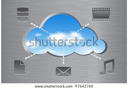Cloud computing concept illustrated with data icons. Vector illustration