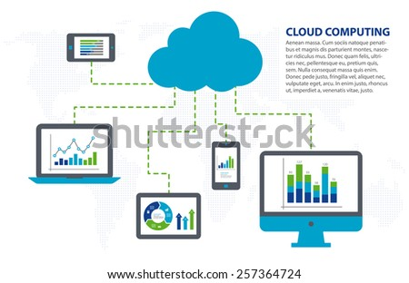 Cloud computing concept. Infographic template - stock vector
