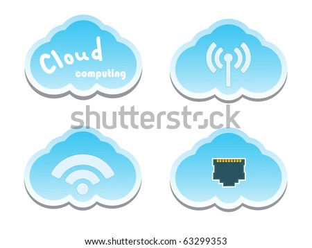 Cloud computing concept. Network Socket, WiFi and wireless Icons. - stock vector