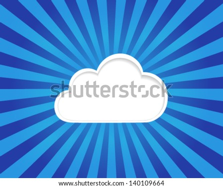 Cloud computing concept on a blue striped background, vector eps10