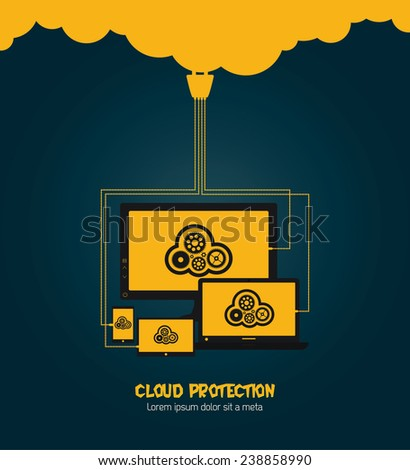 Cloud computing concept on paper stickers. Image contains transparency in shadows - you can put them on every surface. 10 EPS - stock vector