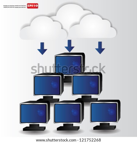 Cloud computing concept,Vector