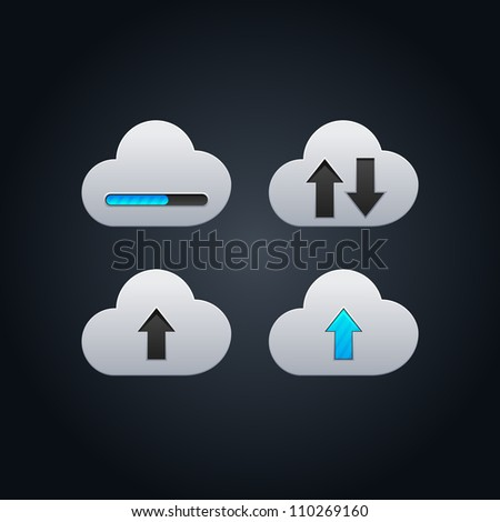 Cloud computing concept vector illustration with arrows - stock vector