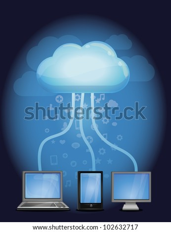 cloud computing concept - vector illustration with computers and mobile phone