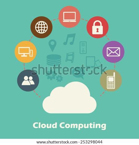 cloud computing concept, vector technology icons - stock vector
