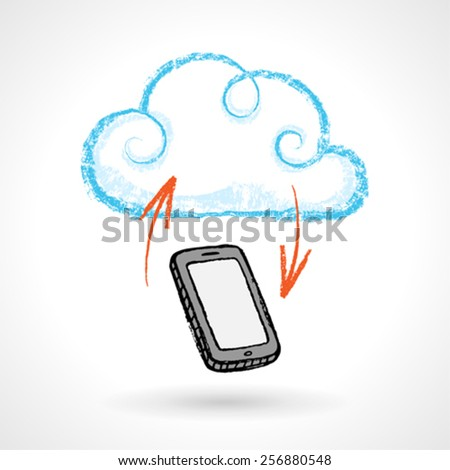Cloud Computing Concept With Cellphone Vector Drawing - stock vector