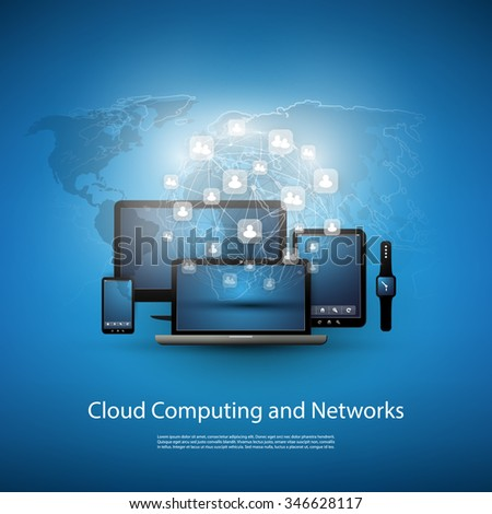 Cloud Computing Concept With Different Devices (Laptop, Smart Phone, Smart Watch, Smart TV)