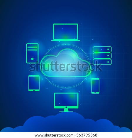 Cloud computing concept with glossy illustration of digital devices connected with cloud on blue background. - stock vector
