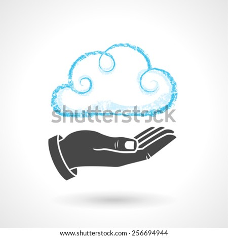 Cloud Computing Concept With Hand Symbol - stock vector