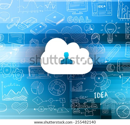 Cloud Computing concept with infographics sketch set: design elements isolated, vector shapes. It include lots of icons included graphs, stats, devices,laptops, clouds, concepts and so on. - stock vector
