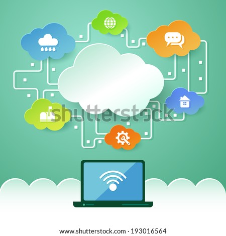 Cloud computing concept with laptop and icons.