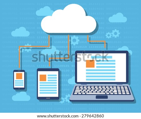 Cloud computing concept with laptop, tablet and cell phone icons. Flat design. Vector Illustration - stock vector