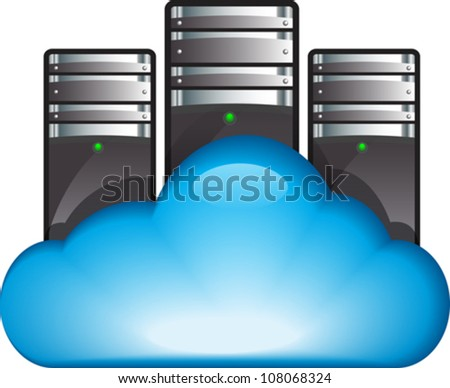 Cloud computing concept with servers in the cloud. Cloud server. Vector illustration - stock vector