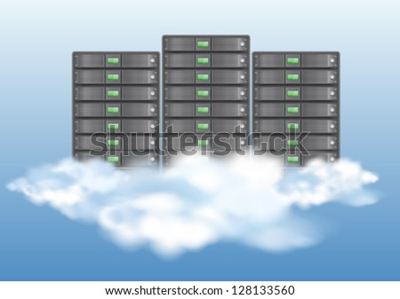 Cloud computing concept with servers in the clouds. Vector illustration