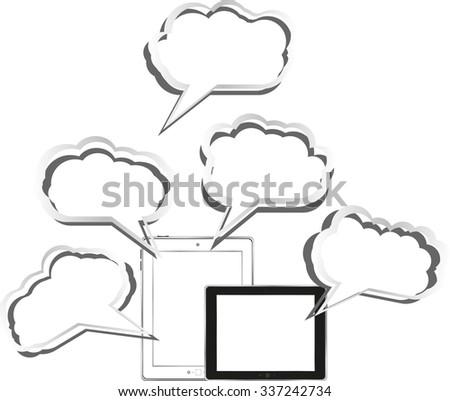 Cloud-computing connection on the digital tablet pc. Conceptual image. Isolated on white. vector illustration