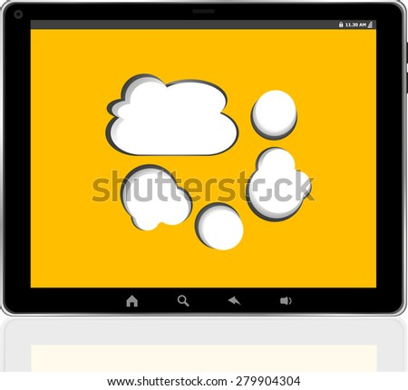Cloud-computing connection on the digital tablet pc vector - stock vector