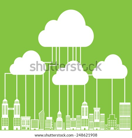 Cloud Computing Connectivity  City Network - stock vector