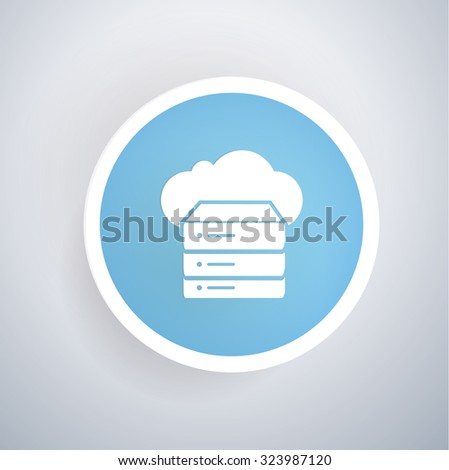 Cloud computing,Database icon on blue button,clean vector - stock vector