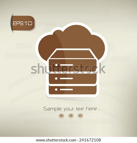 Cloud computing,Database icon on brown background,clean vector - stock vector