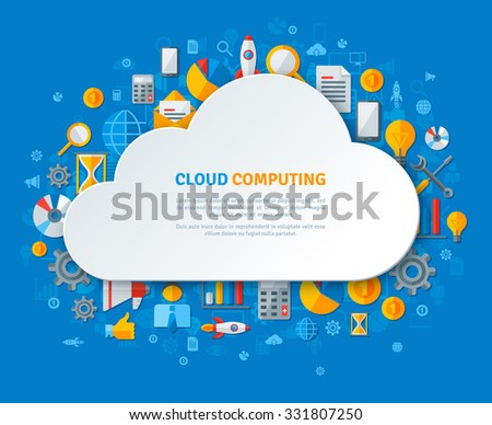 Cloud Computing Design Concept with Paper Cloud Frame and Business Flat Icons. Vector illustration. Social Media Icons, Time, Calculation, Statistics Analysis, Settings. - stock vector