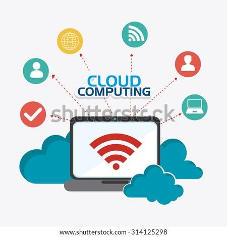 Cloud computing design, vector illustration eps 10. - stock vector