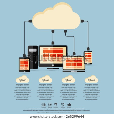 "Cloud computing - Devices connected to the ""cloud"".EPS10 vector. All elements (background,devices, text ) are in separate layers. - stock vector"