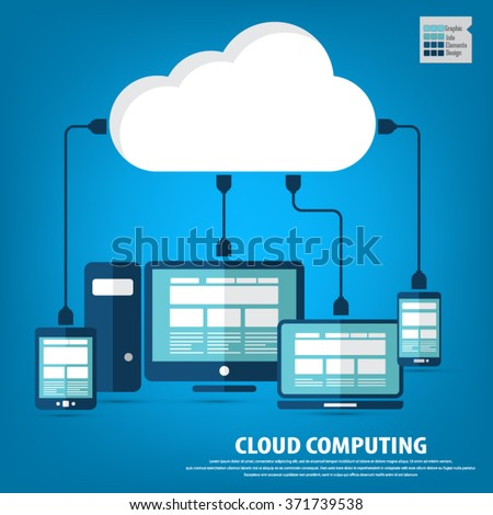"Cloud computing - Devices connected to the ""cloud"".EPS10 vector. All elements (background,devices, text ) are in separate layers. Fully editable. - stock vector"