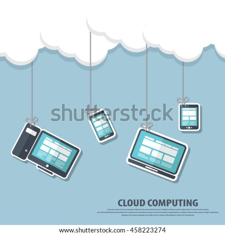 """Cloud computing - Devices connected to the """"cloud"""".EPS10 vector. All elements (background,devices, text ) are in separate layers. Fully editable. - stock vector"""