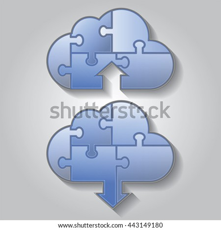 Cloud computing download and upload puzzle icon, vector - stock vector