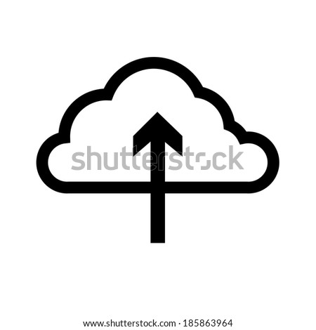 cloud computing download icon   vector flat design element black isolated on white background - stock vector