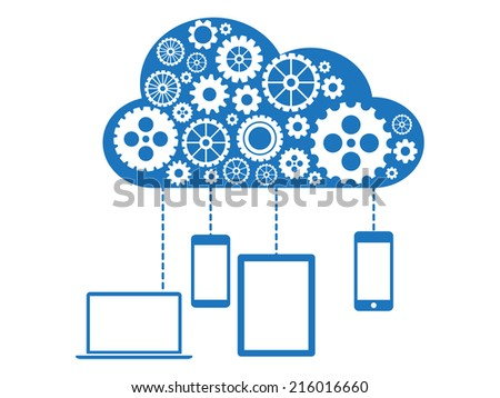 Cloud Computing Flat Concept - stock vector