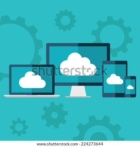 Cloud computing. Flat design illustration of laptop, desktop computer, tablet and smart phone with cloud icon on screen. - stock vector