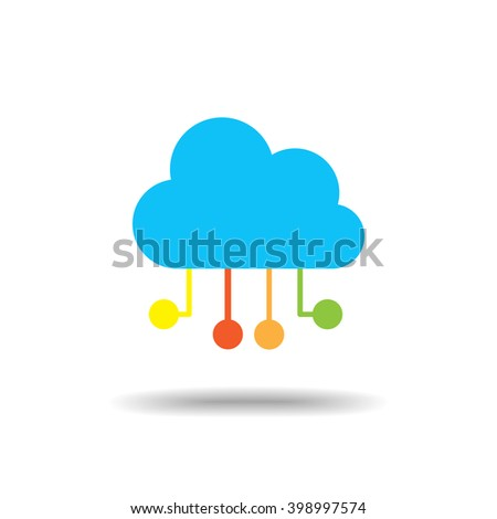 Cloud computing flat icon isolate on white background vector illustration eps 10 - stock vector