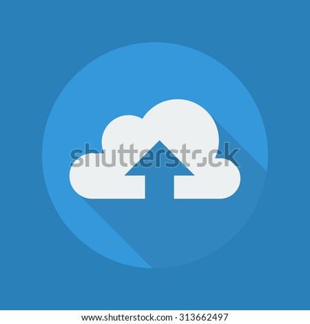 Cloud Computing Flat Icon With Long Shadow. Upload