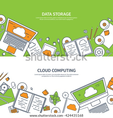 Cloud computing,flat outline style.Line art.Data storage device,media server.Web hosting and cloud technology.Data protection,database security.Backup,copy,migrate data between cloud storage services. - stock vector