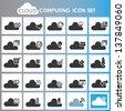cloud computing icon set - stock vector
