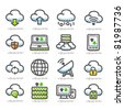 Cloud computing | icon set - stock photo