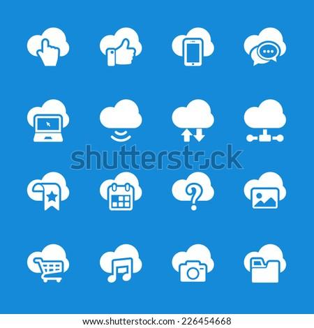 cloud computing icon set, vector eps10. - stock vector